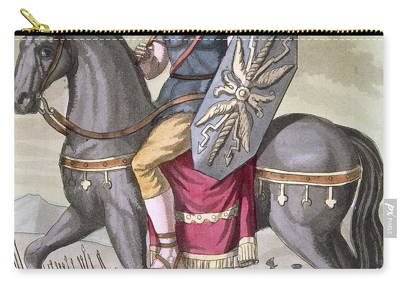 Ancient Rome Carry-all Pouch featuring the drawing Roman Cavalryman Of The State Army by Jacques Grasset de Saint-Sauveur