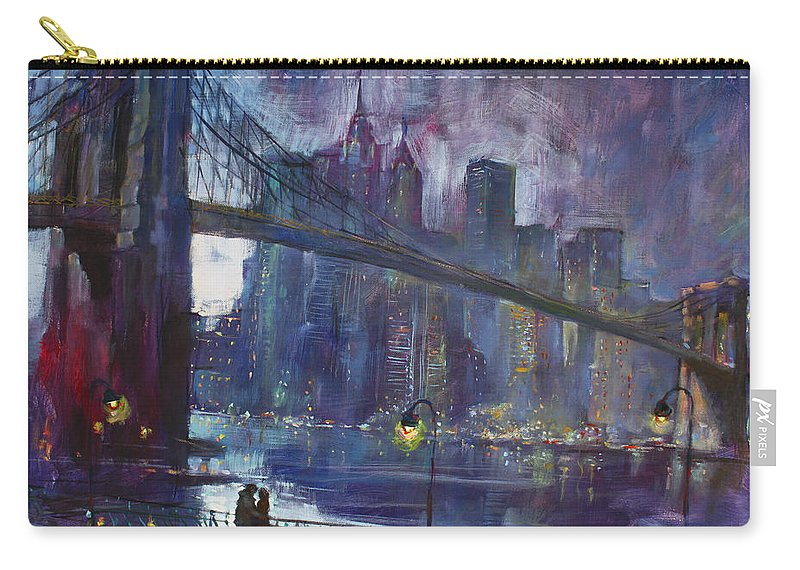 Brooklyn Bridge Carry-all Pouch featuring the painting Romance by East River NYC by Ylli Haruni