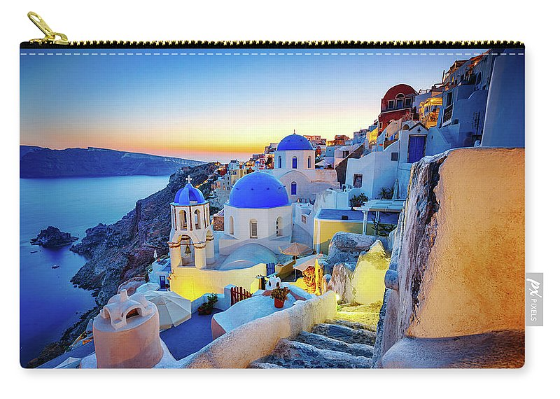 Greek Culture Carry-all Pouch featuring the photograph Romantic Travel Destination Oia by Mbbirdy