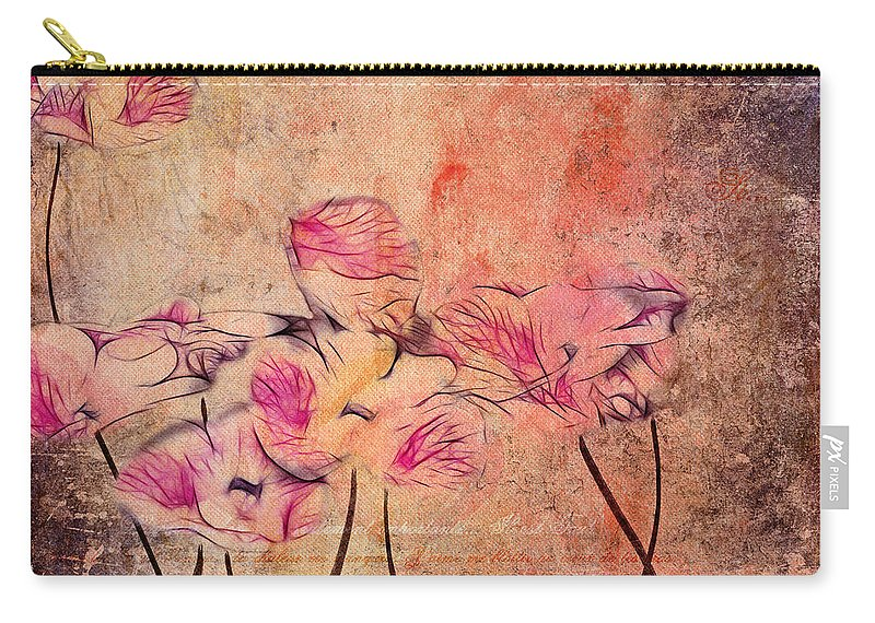 Pink Carry-all Pouch featuring the digital art Romantiquite - 44bt22 by Variance Collections