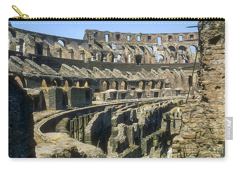 Rome Colosseum Ruin Roman Ruins Structure Structures Architecture Landmark Landmarks Italy Carry-all Pouch featuring the photograph Rome Colosseum by Bob Phillips