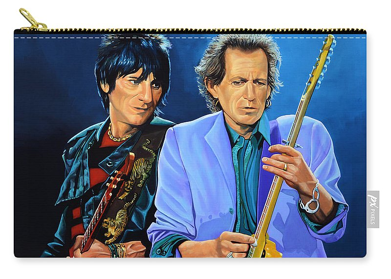 The Rolling Stones Carry-all Pouch featuring the painting Ron Wood And Keith Richards by Paul Meijering