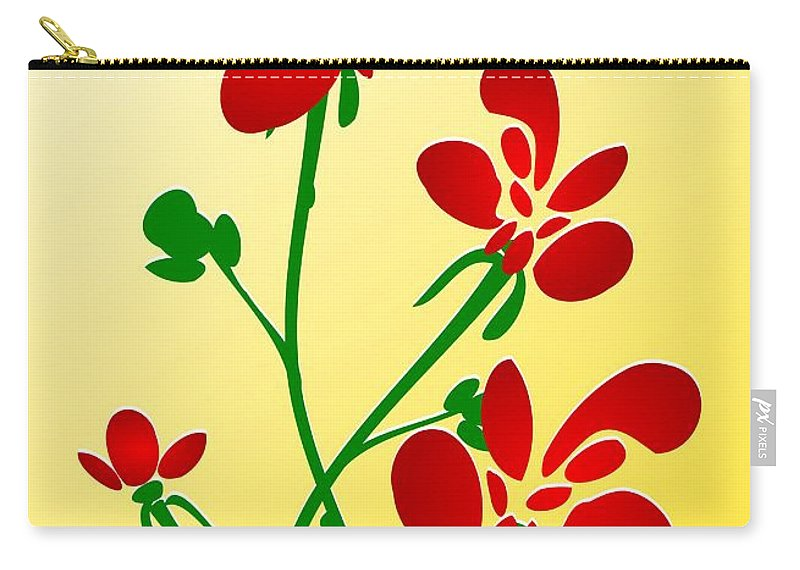 Red Carry-all Pouch featuring the digital art Rooster Flowers by Anastasiya Malakhova