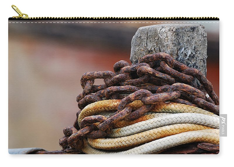 Rope And Chain Carry-all Pouch featuring the photograph Rope And Chain by Wendy Wilton
