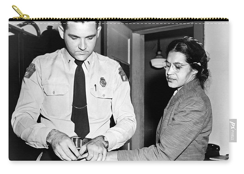 1956 Carry-all Pouch featuring the photograph Rosa Parks Gets Fingerprinted by Underwood Archives