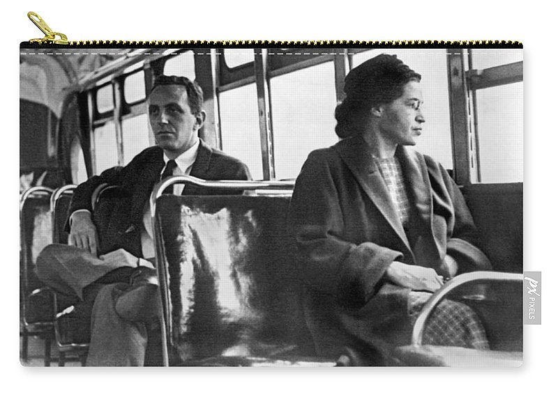 1956 Carry-all Pouch featuring the photograph Rosa Parks On Bus by Underwood Archives