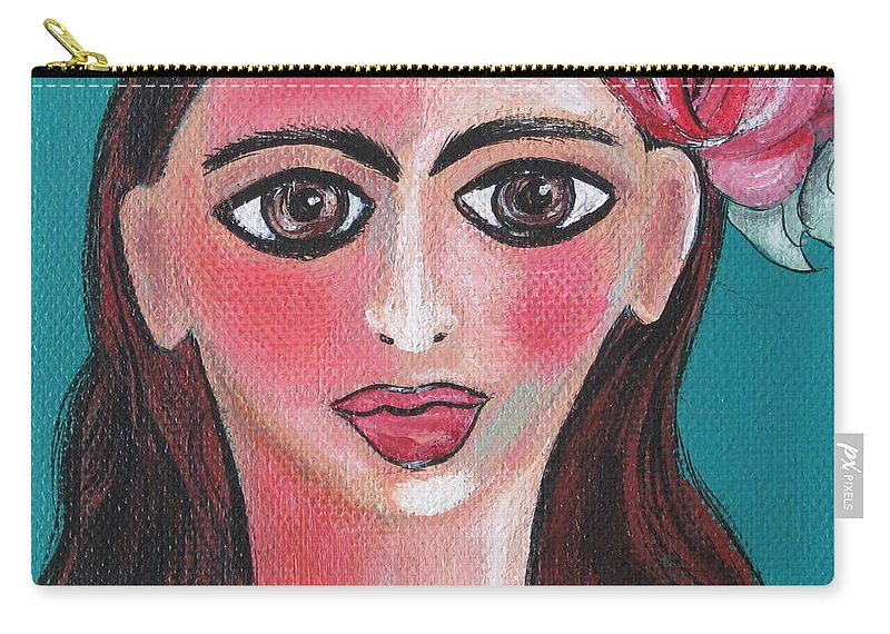 Canvas Carry-all Pouch featuring the painting Rosa by Sue Wright