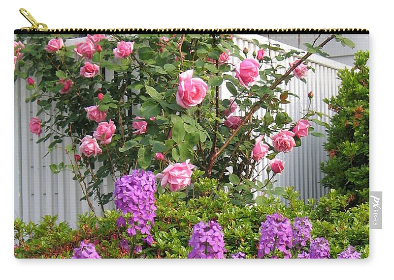 Rose Carry-all Pouch featuring the photograph Rose And Dame's Rocket by Jennifer Wheatley Wolf
