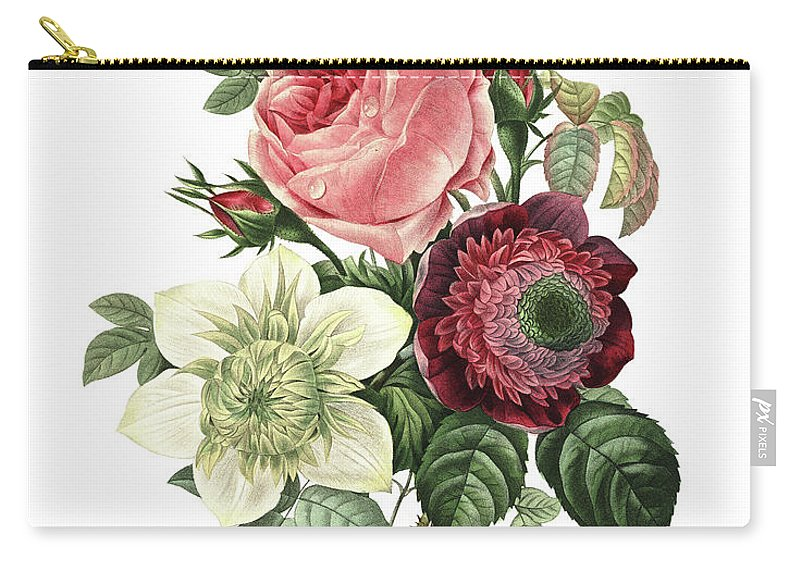 White Background Carry-all Pouch featuring the digital art Rose, Anemone And Clematis | Redoute by Nicoolay