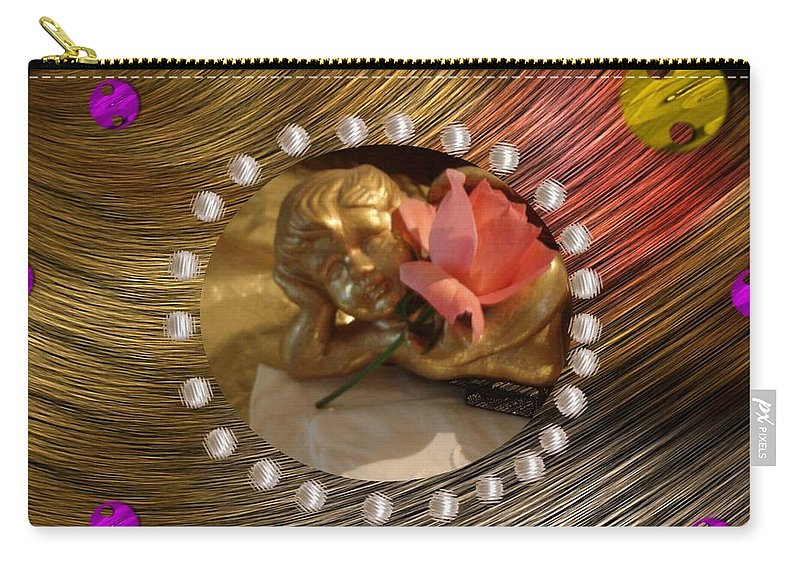 Angel Carry-all Pouch featuring the mixed media Rose Angel by Pepita Selles