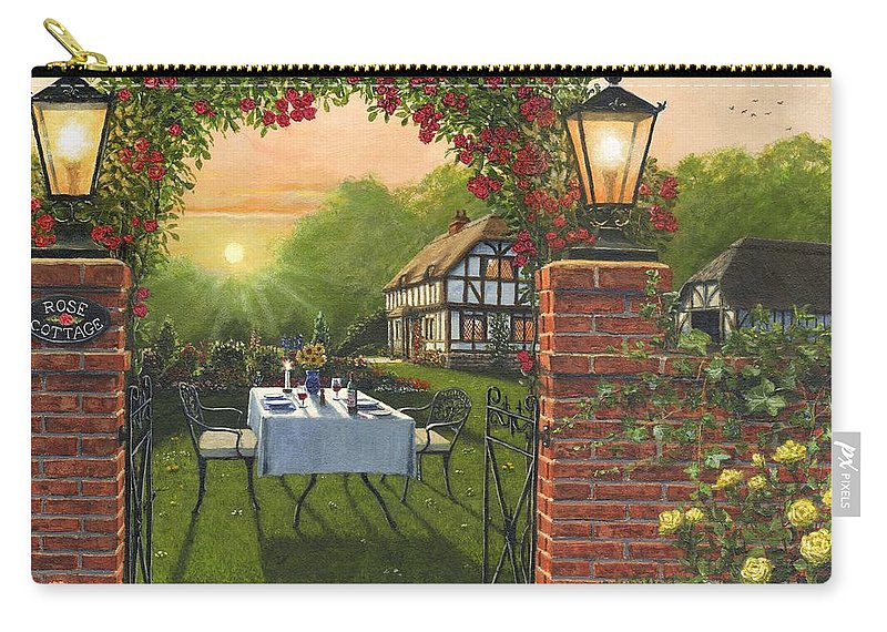 Landscape Carry-all Pouch featuring the painting Rose Cottage - Dinner For Two by Richard Harpum