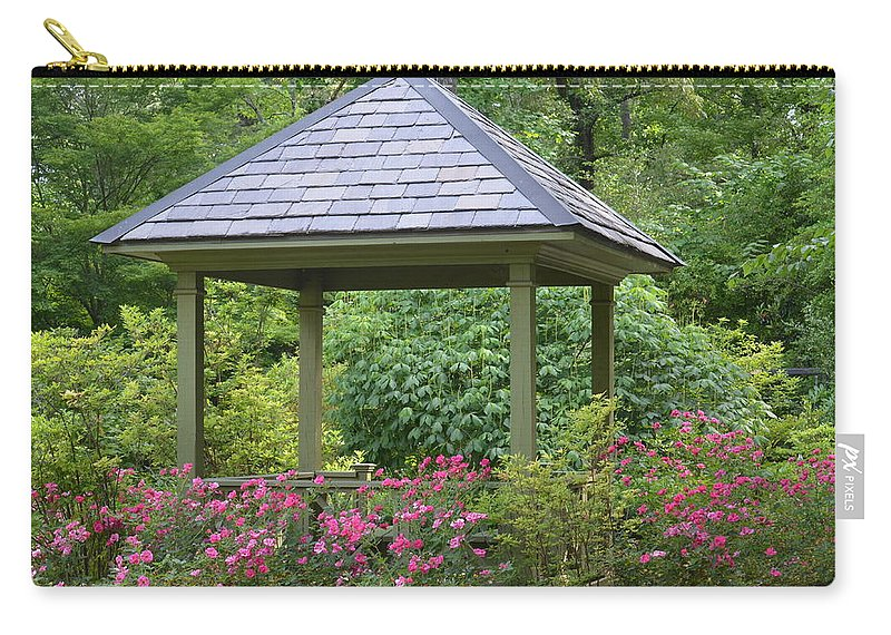 Rose Garden Gazebo Carry-all Pouch featuring the photograph Rose Garden Gazebo by Maria Urso