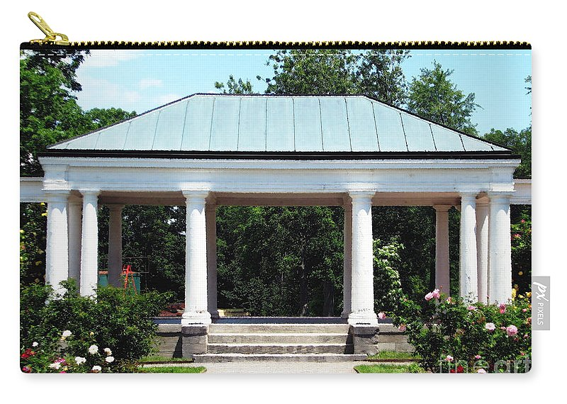 Rose Garden Carry-all Pouch featuring the photograph Rose Garden Pergola In Delaware Park Buffalo Ny Oil Painting Effect by Rose Santuci-Sofranko