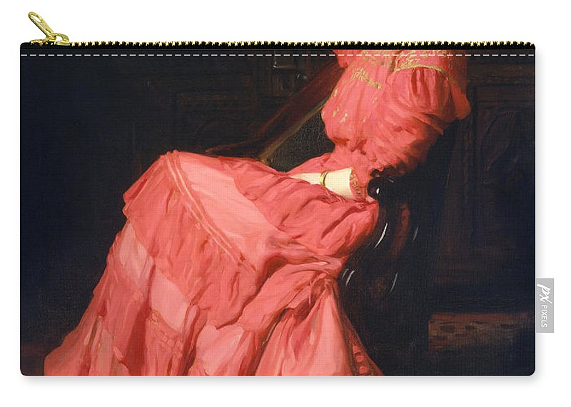 Thomas Pollock Anshutz Carry-all Pouch featuring the painting Rose Garden by Thomas Pollock Anshutz