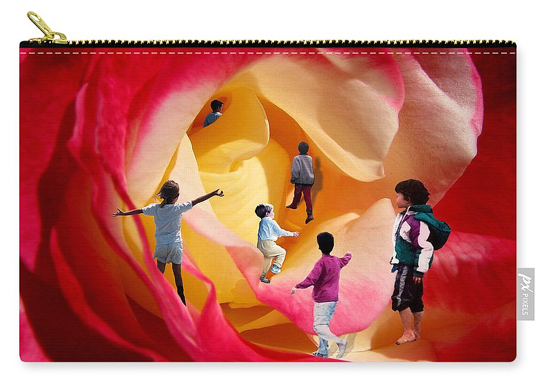 Rose Carry-all Pouch featuring the digital art Rose Labyrinth by Lisa Yount