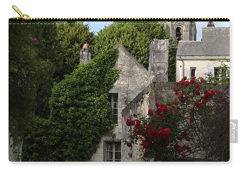 Narrow Street Carry-all Pouch featuring the photograph Rose Lane In Loches by Christiane Schulze Art And Photography