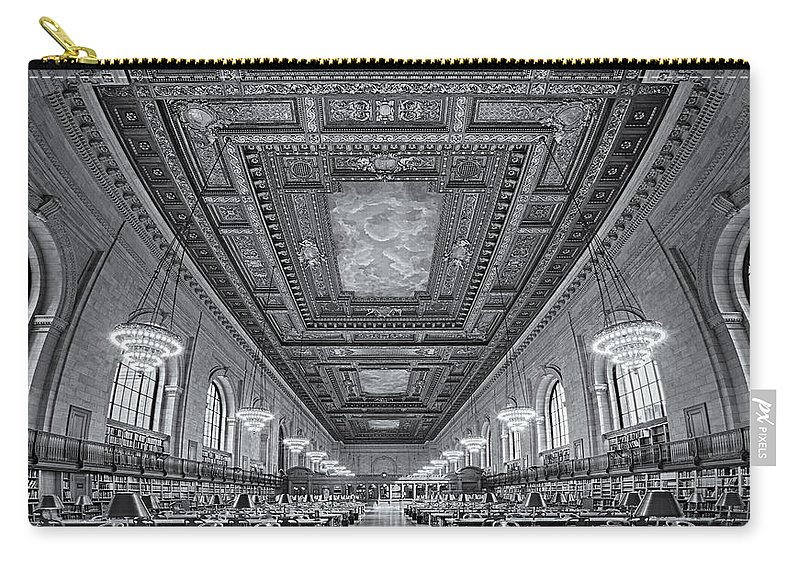 Main Branch Carry-all Pouch featuring the photograph Rose Main Reading Room At The Nypl Bw by Susan Candelario