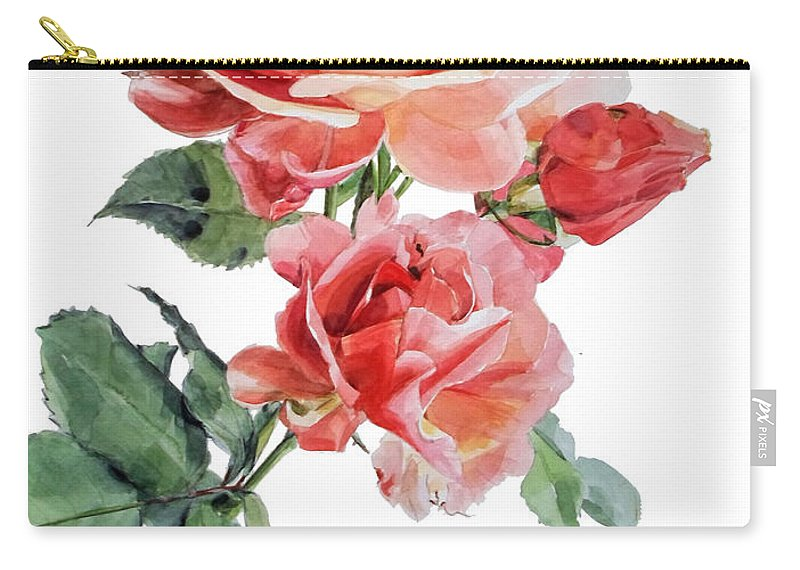 Watercolor Carry-all Pouch featuring the painting Watercolor Of Red Roses On A Stem I Call Rose Maurice Corens by Greta Corens
