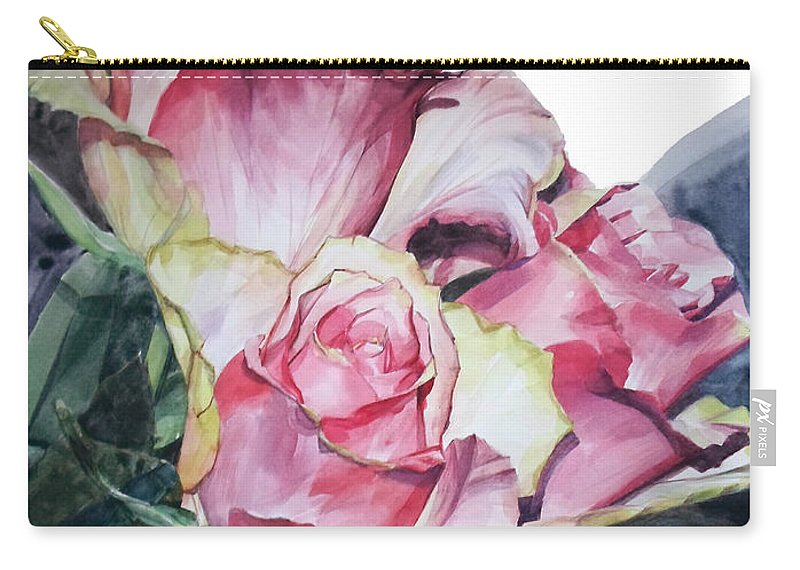 Watercolor Carry-all Pouch featuring the painting Watercolor Of A Bouquet Of Pink Roses I Call Rose Michelangelo by Greta Corens