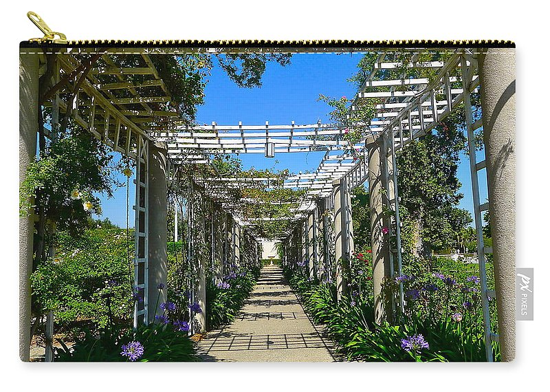 Trellis Carry-all Pouch featuring the photograph Rose Trellis by Denise Mazzocco