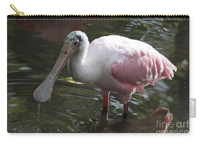 Roseate Spoonbill Carry-all Pouch featuring the photograph Roseate Spoonbill by Christiane Schulze Art And Photography