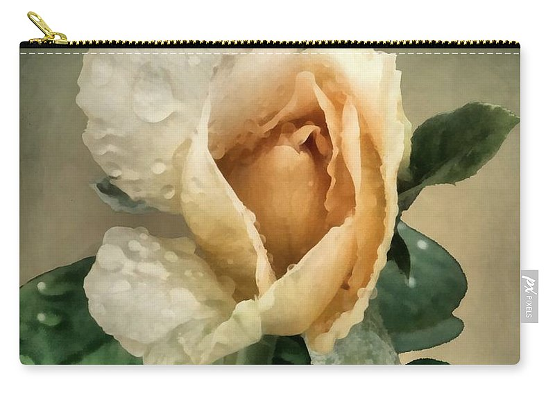 Rose Carry-all Pouch featuring the painting Rosebud After The Rain by RC DeWinter
