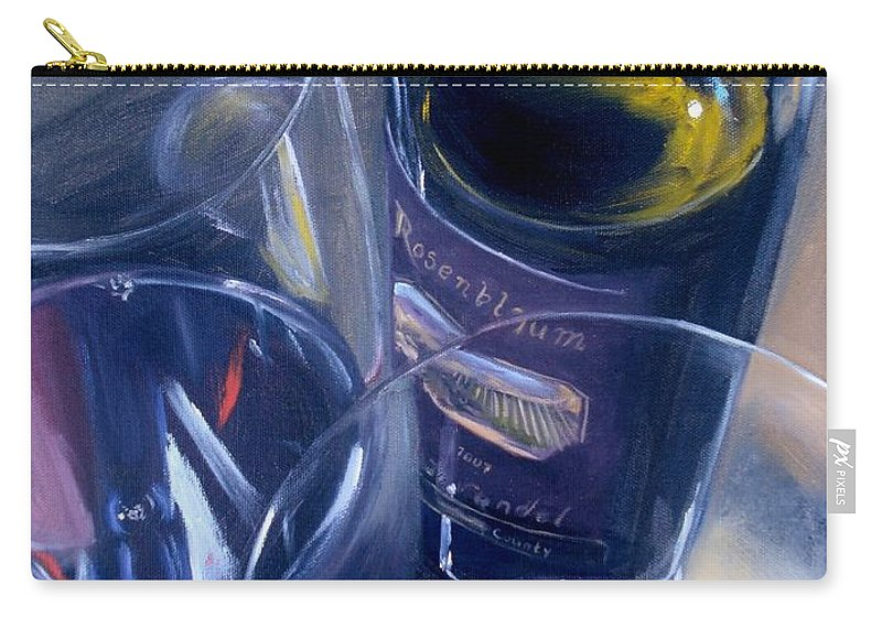 Wine Carry-all Pouch featuring the painting Rosenblum And Glasses by Donna Tuten