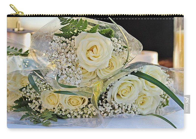 Rose Carry-all Pouch featuring the photograph Roses And Baby Breath by Cynthia Guinn