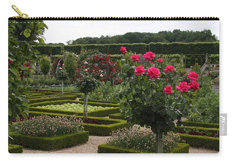Roses Carry-all Pouch featuring the photograph Roses And Cabbage - Chateau Villandry by Christiane Schulze Art And Photography