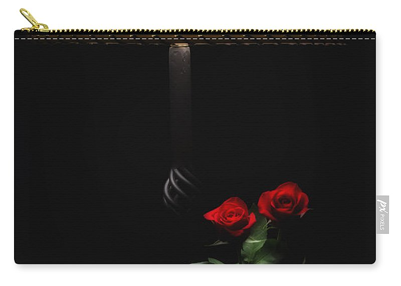 Red Roses Carry-all Pouch featuring the photograph Roses By Lamplight by Ron White