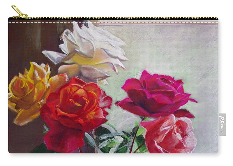 Lynda Robinson Carry-all Pouch featuring the painting Roses By The Window by Lynda Robinson