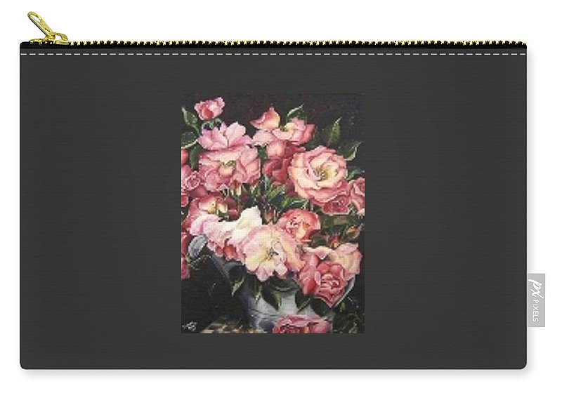 Pink Roses Floral Flowers Carry-all Pouch featuring the painting Roses In A Watercan by Karin Dawn Kelshall- Best