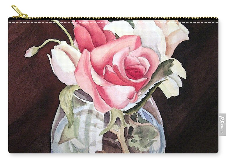 Rose Carry-all Pouch featuring the painting Roses In The Glass Vase by Irina Sztukowski