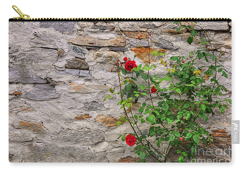 Roses Carry-all Pouch featuring the photograph Roses On A Stone Wall by Mats Silvan