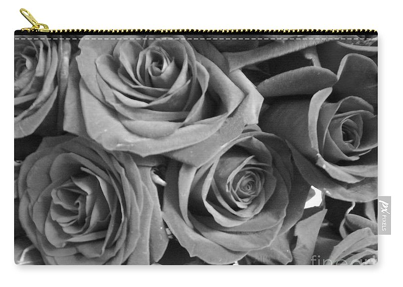 Rose Carry-all Pouch featuring the photograph Roses On Your Wall Black And White by Joseph Baril
