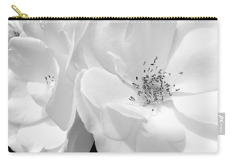 Rose Carry-all Pouch featuring the photograph Roses Soft Petals In Black And White by Jennie Marie Schell