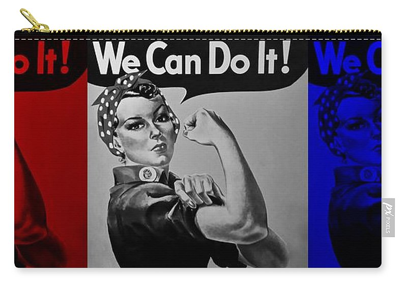 Rosie The Riveter Carry-all Pouch featuring the photograph Rosie In American Colors by Rob Hans