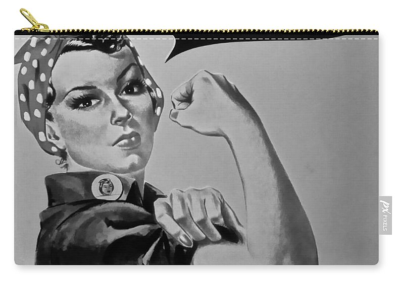 Rosie The Riveter Carry-all Pouch featuring the photograph Rosie In Black And White by Rob Hans