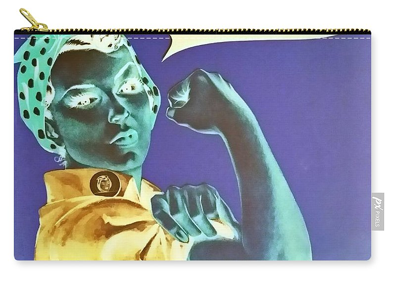 Rosie The Riveter Carry-all Pouch featuring the photograph Rosie In Negative by Rob Hans