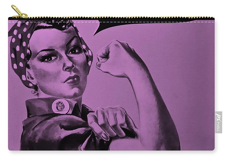 Rosie The Riveter Carry-all Pouch featuring the photograph Rosie In Pink by Rob Hans