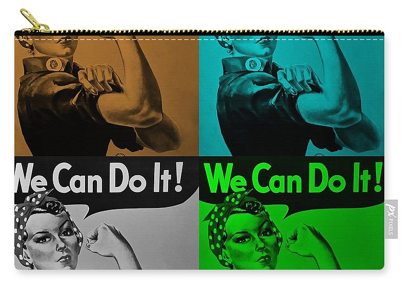 Rosie The Riveter Carry-all Pouch featuring the photograph Rosie In Quad Colors by Rob Hans