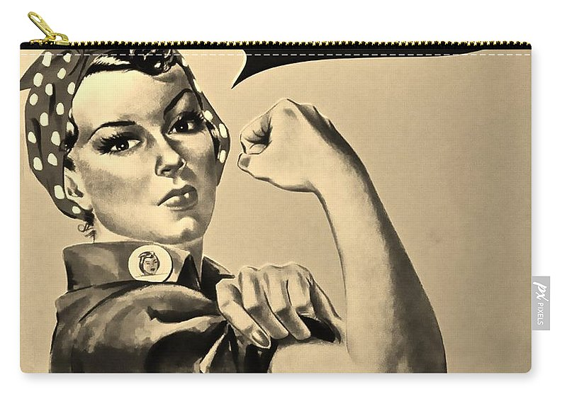 Rosie The Riveter Carry-all Pouch featuring the photograph Rosie In Sepia by Rob Hans
