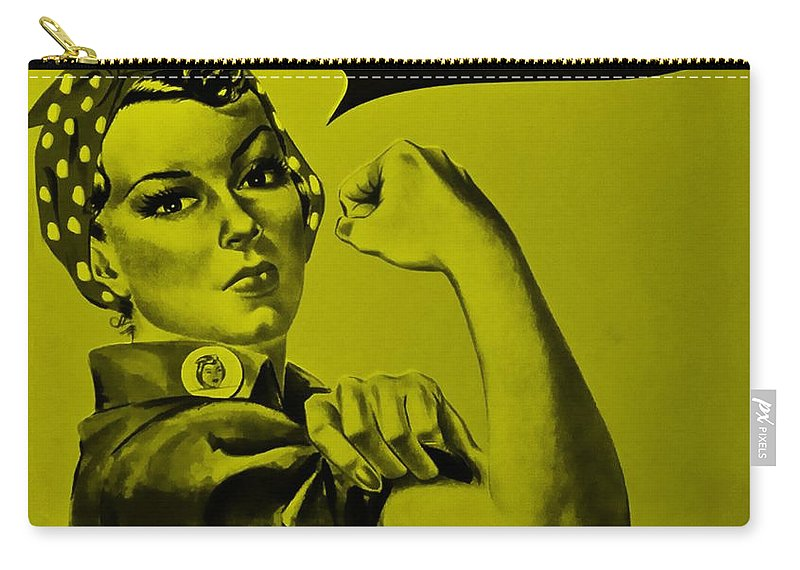 Rosie The Riveter Carry-all Pouch featuring the photograph Rosie In Yellow by Rob Hans