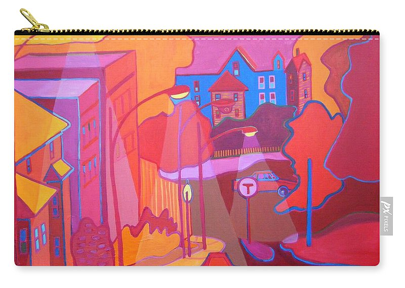 Cityscape Carry-all Pouch featuring the painting Roslindale Never Looked so Red by Debra Bretton Robinson