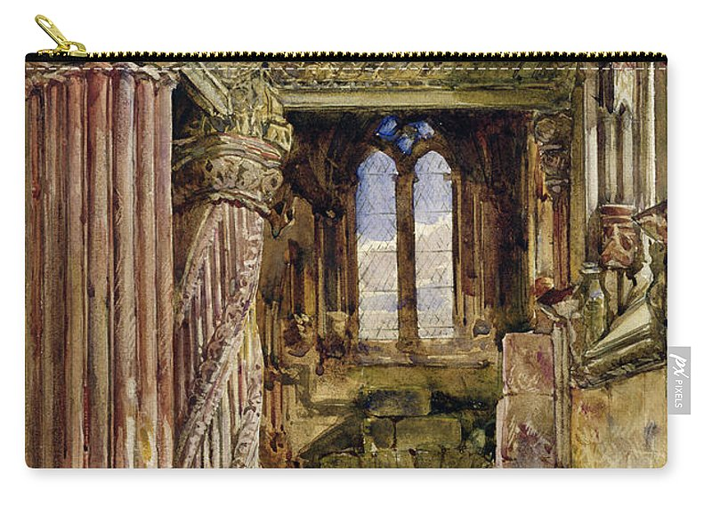 Roslyn Carry-all Pouch featuring the painting Rosslyn Chapel, Scotland by Alexander Jnr Fraser