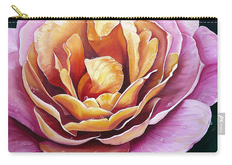 Rose Painting Pink Yellow Floral Painting Flower Bloom Botanical Painting Botanical Painting Carry-all Pouch featuring the painting Rosy Dew by Karin Dawn Kelshall- Best
