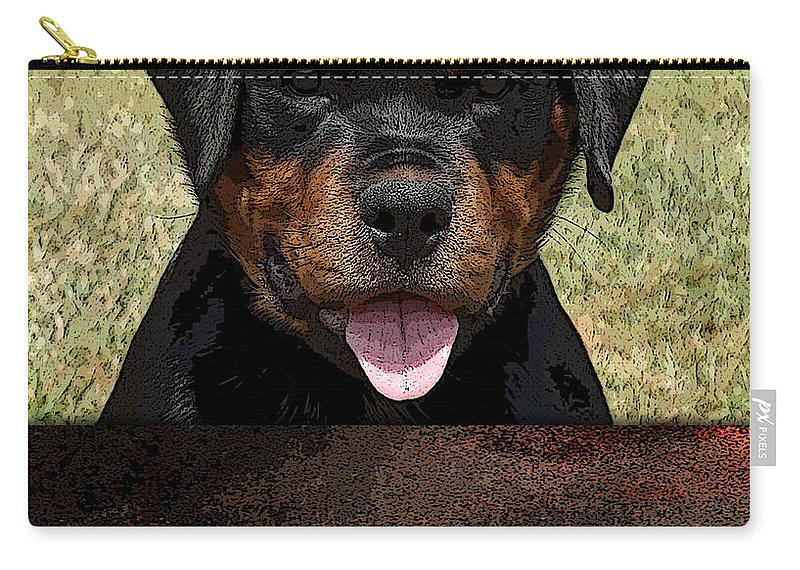 Rottweiler Carry-all Pouch featuring the mixed media Rottweiler by Marvin Blaine