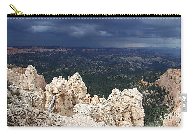 Bryce Canyon Carry-all Pouch featuring the photograph Rough Skys Over Bryce Canyon by Christiane Schulze Art And Photography
