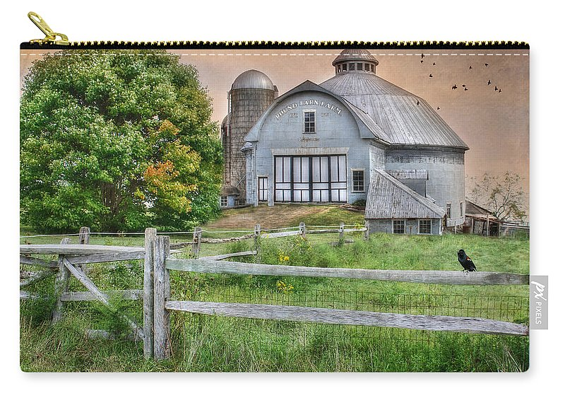 Round Barn Farm Carry-all Pouch featuring the photograph Round Barn Farm by Lori Deiter