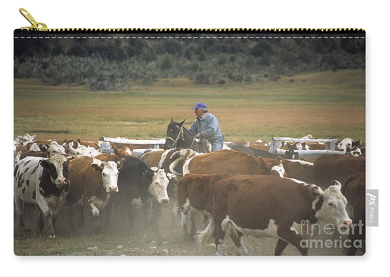 Cowboy Carry-all Pouch featuring the photograph Cattle Round Up Patagonia by James Brunker